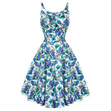 Hearts & Roses London Blue Floral Vintage 50s Party Prom Swing Full Flare Dress