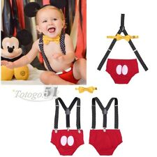 3Pcs Baby Boys Suspenders  Diaper Cover Bottoms Bloomers Bowtie Outfits Sets New