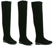 LADIES THIGH HIGH OVER THE KNEE PULL UP FLAT PLATFORM HEEL STRETCH BOOTS SHOES
