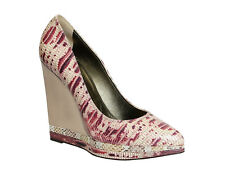 Lanvin metal mirror wedges heels pumps shoes in pink/white snakeskin leather
