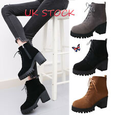 UK Women's Chunky Boot Platform Faux Suede Ankle Boots Lace Up Shoes Block Heels