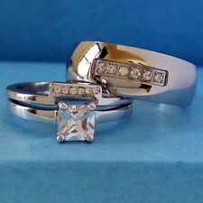 3 PC Solid 925 Sterling Silver Engagement Wedding Ring Set Stainless Steel Band