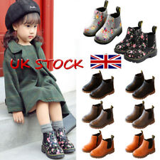UK Winter Girl's Children Boot PU Leather Martin Shoes Kids Fur Lined Snow Boots