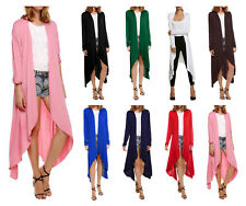 Fashion Women Long Sleeve Cardigan Open Front Draped Solid Casual Irregular Hem