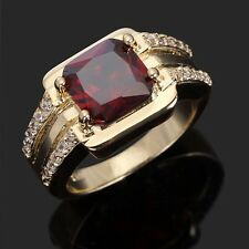 Men's Jewelry Red Garnet Halo18K Gold Filled Fashion Anniversary Rings Size 8-12
