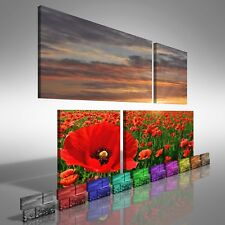 Poppy Field At Sunrise Duo Offset Canvas Print Large Picture Wall Print