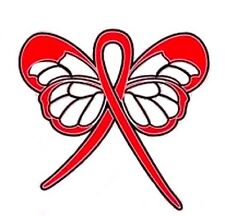 Red Awareness Ribbon Pin Butterfly Cancer Cause Support Collar Tac Walks New