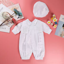 Christening Outfit Baby Boy Ivory 3 PCS Suit Baptism Outfit Embroidered Pattern