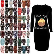 Women Ladies Xmas Mummy's Christmas Pudding Maternity Stretch Bodycon Midi Dress