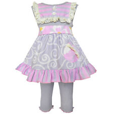 AnnLoren Girls Gray Swirl & Pink Stripes Dress Capri Set sz 12/18 mo - 9/10