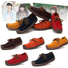 Womens Lady Soft Leather Casual Slip On Loafer Shoes Lace Up Flat Shoes US Size