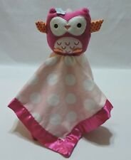 Owl Security Blanket Plush Lovey Pink White Dots Satin Circo Cute Soft