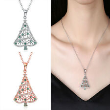 Fashion Women Crystal Silver Plated Christmas Tree Titanium Pendant Necklace NEW
