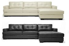 MODERN LEATHERSOFT* TUFTED SECTIONAL SOFA CHAISE BLACK OR CREAM