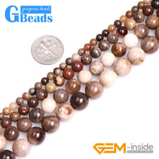 """Natural Brown American Silicified Wood Opalite Round Jewelry Making Beads 15"""""""