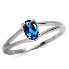 Genuine London Blue Topaz White Gold Plated 925 Sterling Silver Solitaire Ring
