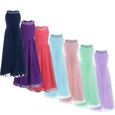 Chiffon Flower Girls Princess Party Wedding Bridesmaid Pageant Formal Gown Dress