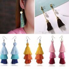 1 Pair Fashion Boho Pearl Long Tassel Fringe Dangle Hook Earrings Woman Jewelry