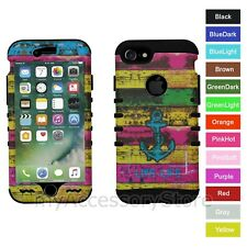For iPhone 8 Anchor Rainbow Wood Hybrid Rugged Armor Protective Phone Case Cover