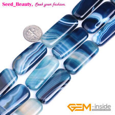 16x38mm Arc Rectangle Gemstone Blue Banded Agate Beads Strand 15""