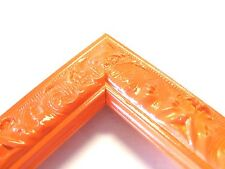 Small Orange Victorian Wood Ornate Picture Frame-Custom Made Odd Size