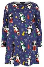 YoursClothing Plus Size Womens Christmas Penguin Print Novelty Longline Top