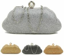 LADIES WEDDING OCCASION CLUTCH BAG DIAMANTE PEARLS PARTY PROM BRIDAL EVENING BAG