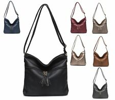 LADIES WOMENS TOTE FAUX LEATHER SLOUCH SATCHEL SHOPPER TASSEL ZIP SHOULDER BAG