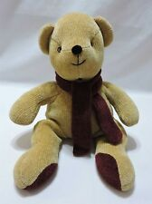 Pottery Barn Teddy Bear Tan Plush Chenille Stuffed Animal Maroon Scarf 15""