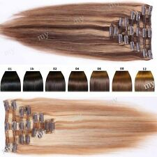 Deluxe Extra Thick Highlight Clip In Remy Human Hair Extensions Full Head US