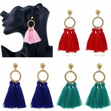 Fashion Gold Circle Tassel Fringe Drop Ear Stud Earrings Womens Jewellery Gift