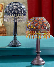 Acrylic Stain Glass Shade & Metal Table Lamp LED Tea Light Candle Holder