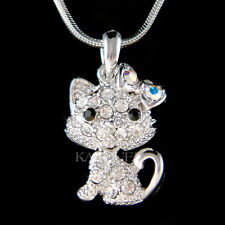 ~Cute movable Kitty Cat~ Kitten made with Swarovski Crystal Charm Chain Necklace