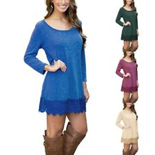 Womens Casual Long Sleeve Lace Pattern Round Neck Blouse Jumper Tops Shirt Dress