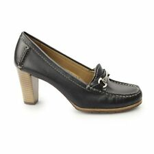 Hush Puppies CASTANA Ladies Womens Soft Leather Comfy Block Heeled Loafers Black