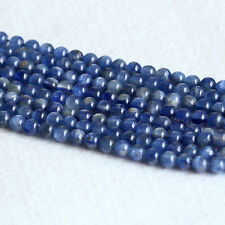 Natural Genuine Real Blue Kyanite Stone Round Loose Small Beads 4mm 6mm