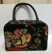 VINTAGE 1940'S FLORAL NEEDLEPOINT TAPESTRY CARPETBAG HANDBAG PURSE