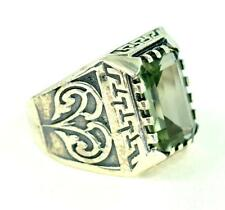 NATURAL GREEN AMETHYST FEBRUARY BIRTHSTONE 925 STERLING SILVER MENS RING #0120
