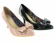 Strawberry By VT Patent Bow Kitten Heel Party Dress Casual Womens Work Shoe 3-8