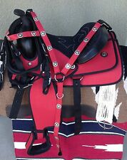"13"" NEW RED WESTERN CORDURA PLEASURE TRAIL SADDLE PACKAGE"