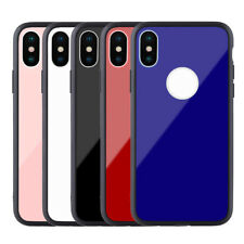 Newest Tempered Glass Back Protective Cover Phone Case  For iPhone X 6 7 8 Plus