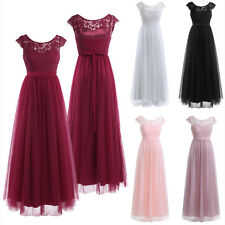 Women Formal Long Lace Maxi Dress Prom Evening Party Cocktail Wedding Xmas Gown