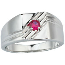 Real 925 Sterling Silver Men Ring 4mm Ruby Red CZ Jewelry Classic Father Gift