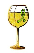 Lime Green Ribbon Lapel Pin White Wine Glass Cancer Cause Awareness Tasting New