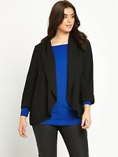 NEW SO FABULOUS CURVE PLUS SIZE DRAPED CREPE BLAZER JACKET BLACK SMART CHIC LOOK