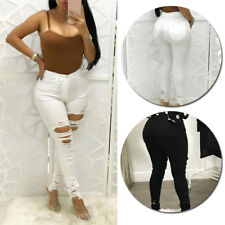 High Waisted Womens Skinny Trousers Pencil Pants Jeggings Stretchy