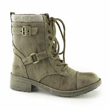Rocket Dog THUNDER Ladies Womens Rounded Toe Comfy Lace Up Biker Boots Heirloom