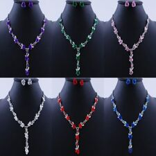 Women Flower Rose Crystal Necklace Earrings Set Wedding Bridal Party Jewelry New