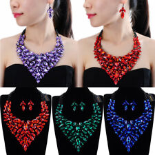 Fashion Black Chain Rhinestone Acrylic Statement Pendant Bib Necklace Earrings