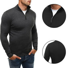 Solid color knit shirt  Casual style Men's woolen sweater High-necked knitwear